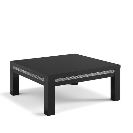 gloria coffee table square in black gloss and crystal