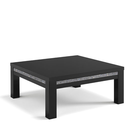 View Gloria coffee table square in black gloss and crystal details