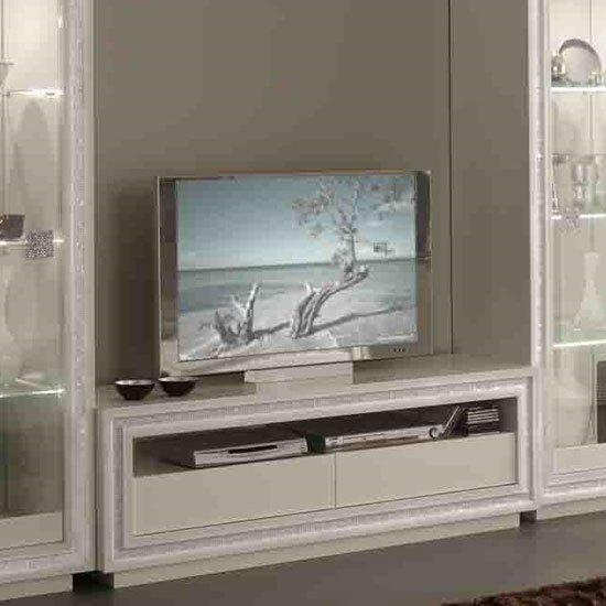 Gloria Modern TV Stand In White High Gloss With Crystal Details