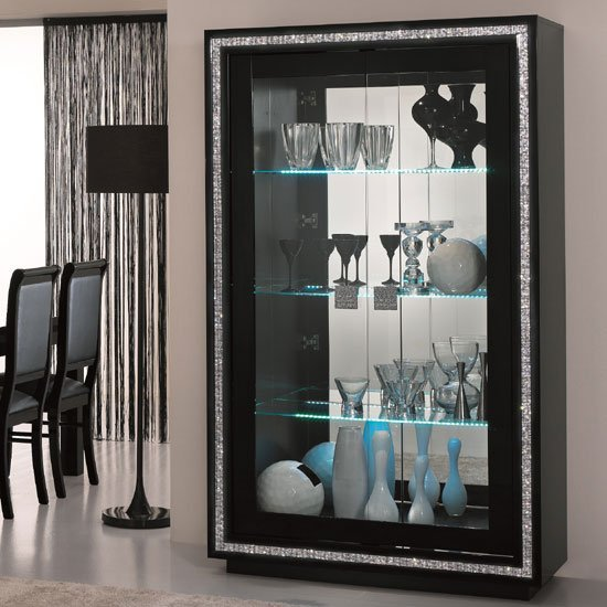 Gloria Wide Display Cabinet In Black Gloss Crystals And LED