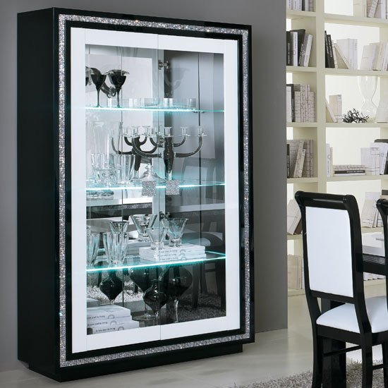 Gloria Wide Display Cabinet In Black And White Gloss With LED