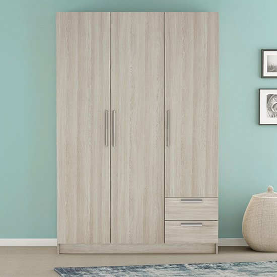 Glorify 3 Doors 2 Drawers Wooden Wardrobe In Shannon Oak