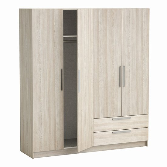 Glorify 4 Doors 2 Drawers Wooden Wardrobe In Shannon Oak_3