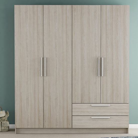 Glorify 4 Doors 2 Drawers Wooden Wardrobe In Shannon Oak_1