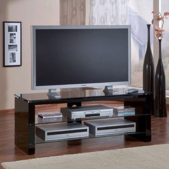 Alpha Flat Sceen TV Stands In High Gloss Black Leg