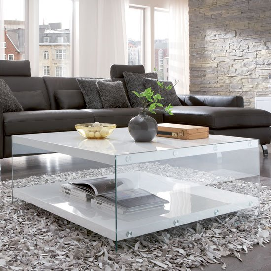 Modern Oval White High Gloss Glossy Lacquer Coffee Table: Olymp Glass Top Coffee Table With High Gloss White Side
