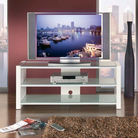 Plaza Glass LCD TV Stand In White High Gloss Supports
