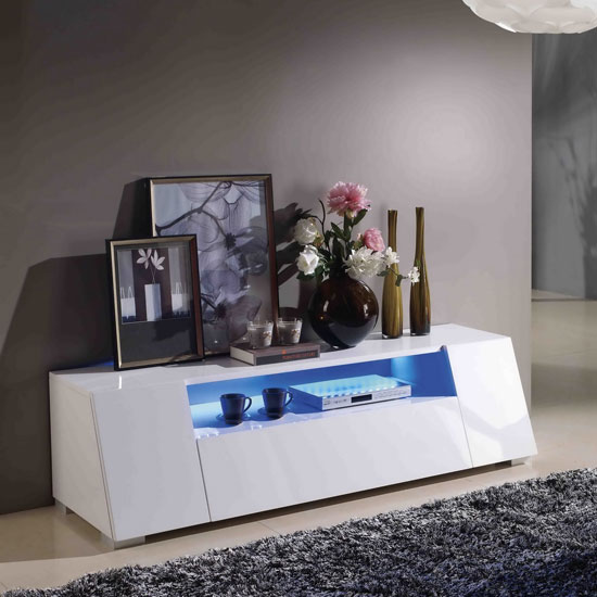 Lazy LCD TV Stand In High Gloss White With LED