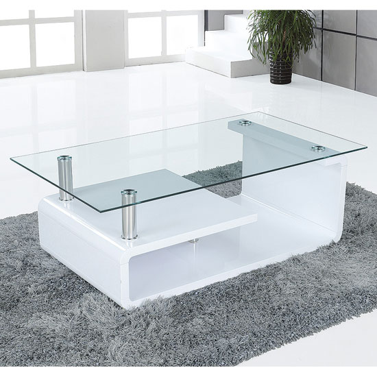 Coffee Table White Gloss Black Glass Top Coffee Table: Genesis Plasma TV Stand In White High Gloss With Sliding