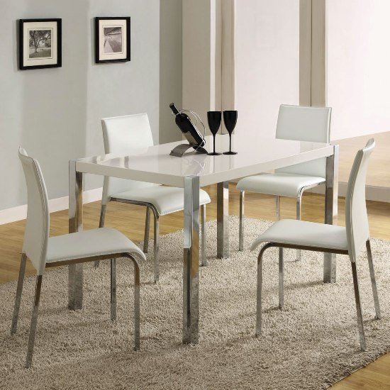 Merveilleux Stefan High Gloss White Dining Table And 4 Chairs