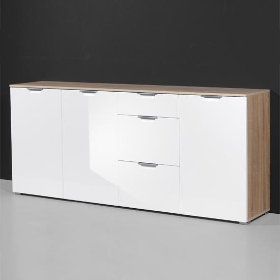 Prima Canadian Oak Gloss White Wardrobe 3156