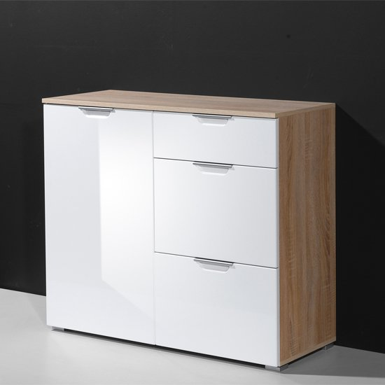 Eva Compact Sideboard In Gloss White And Oak With 3 Drawers