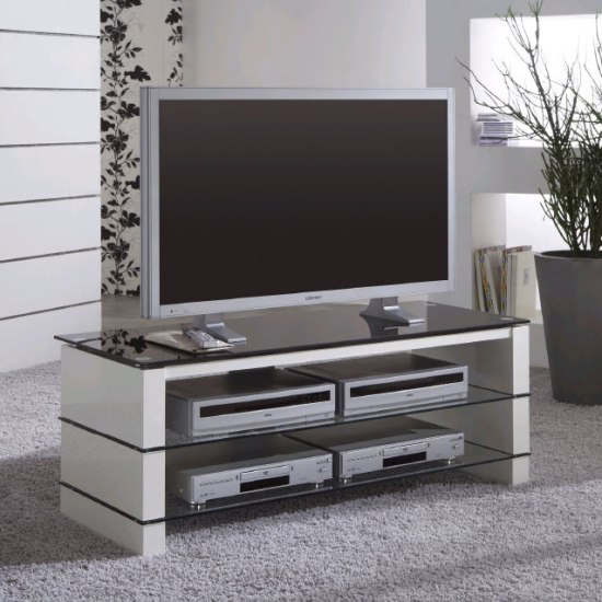 Alpha Flat Sceen TV Stands In High Gloss White Leg
