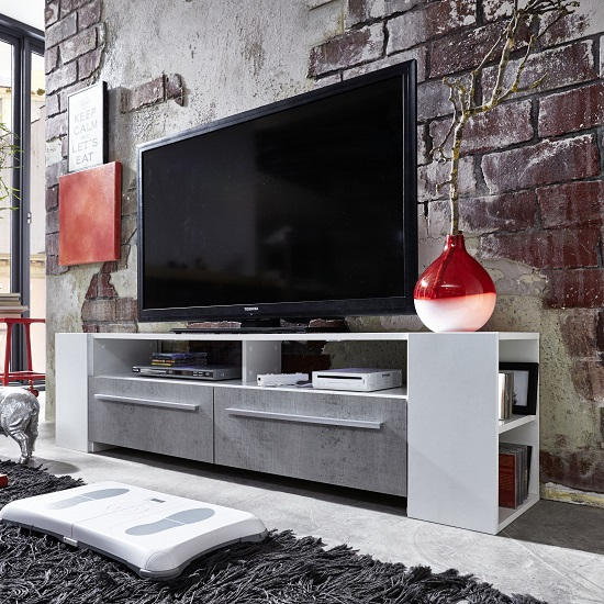 Glymer LCD TV Stand In White With Gloss Fronts And LED Lighting_2