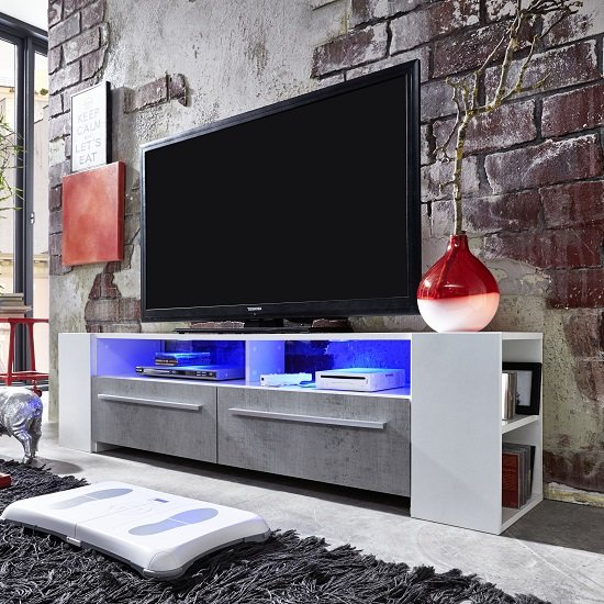 Glymer LCD TV Stand In White With Gloss Fronts And LED Lighting_3