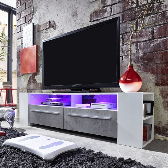 Glymer LCD TV Stand In White With Gloss Fronts And LED Lighting_4