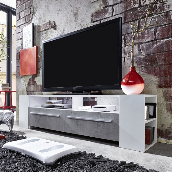 Glymer LCD TV Stand In White With Gloss Fronts And LED Lighting_5