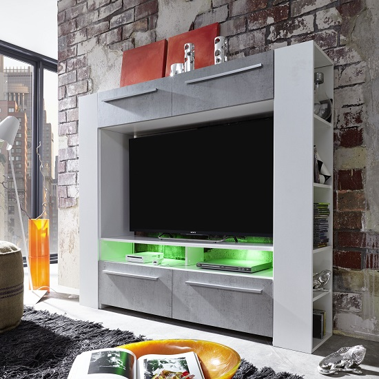 Glymer LCD TV Stand In White With Gloss Fronts And LED_3