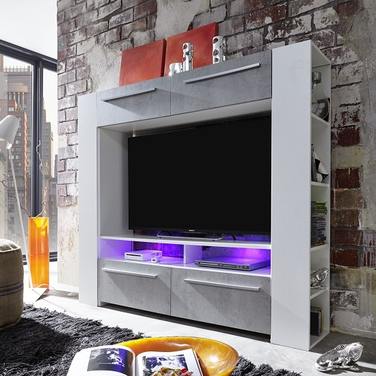 Glymer LCD TV Stand In White With Gloss Fronts And LED_1