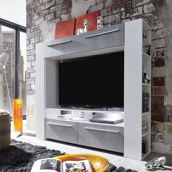 Glymer LCD TV Stand In White With High Gloss Fronts With LED