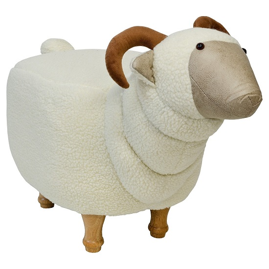 Goat Shaped Pouffe In White Finish