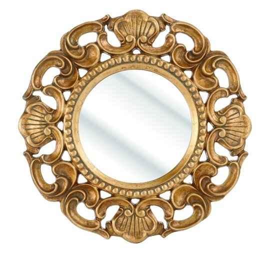 Roco Wall Mirror With Round Gold Frame