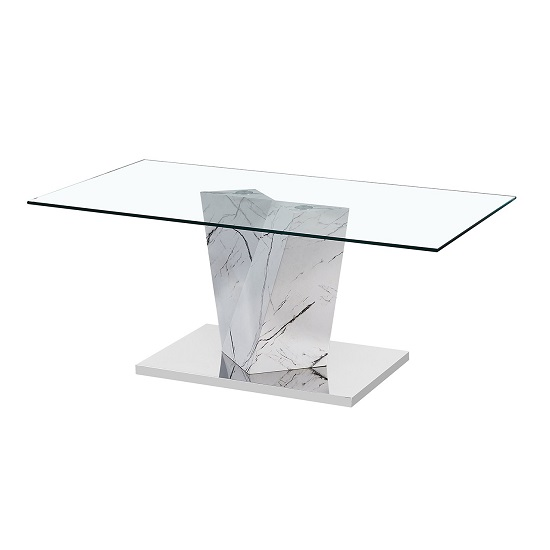Gosnold Glass Coffee Table In Marble Effect With Metal Base