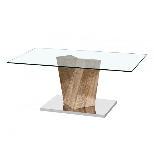 Gosnold Glass Coffee Table In Oak Effect With Metal Base