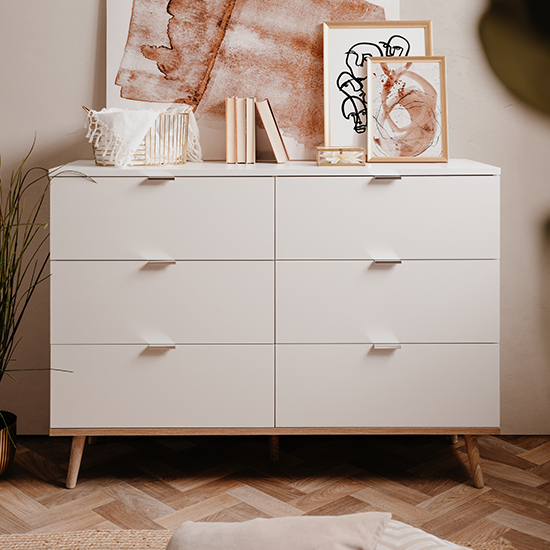 Gotery Large Wooden Chest Of Drawers In Sonoma Oak And White