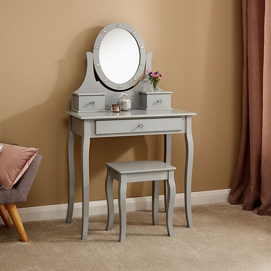 Grace Wooden LED Dressing Table In Grey With 1 Drawer