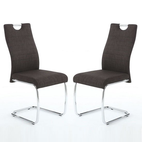 Grace Dining Chairs In Charcoal Linen Fabric In A Pair