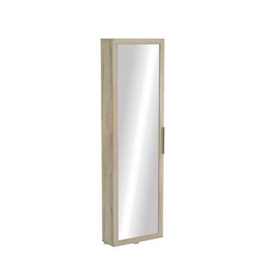 Gracelyn Mirrored Shoe Cabinet In Kronberg Oak With 1 Door