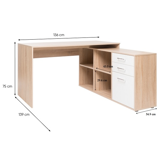 Grafit Corner Computer Desk In Sonoma Oak With White Front_2