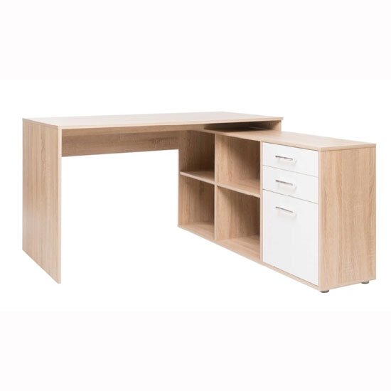 Grafit Corner Computer Desk In Sonoma Oak With White Front_1