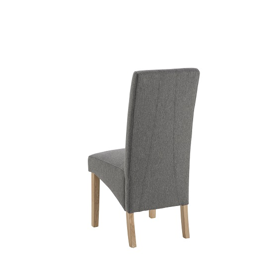 grafton fabric dining chair in grey herringbone and oak