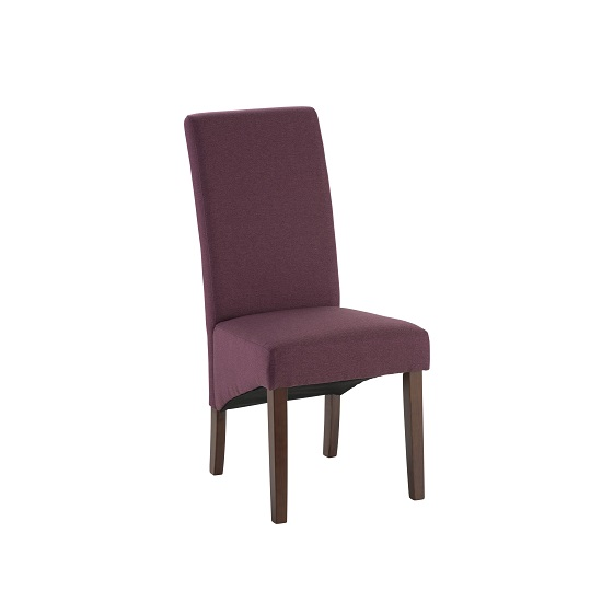 Grafton fabric dining chair in plum herringbone with dark for Plum dining room chairs