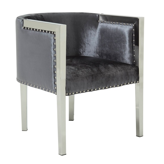 Granada Modern Accent Chair In Charcoal Velvet With Metal Legs