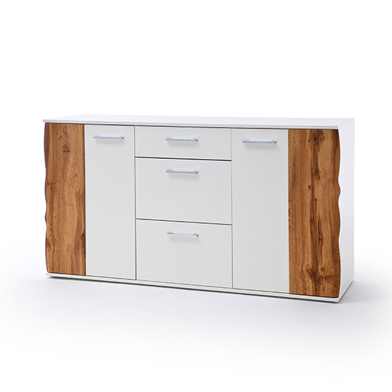 Granada Large Wooden Sideboard In White High Gloss And Oak