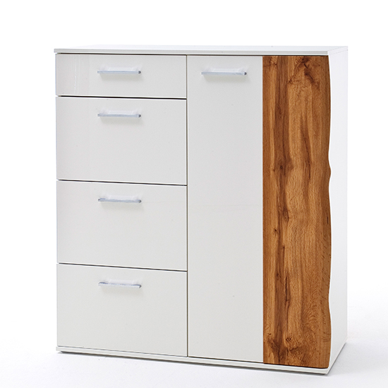 Granada Wooden Chest Of Drawers In White High Gloss And Oak
