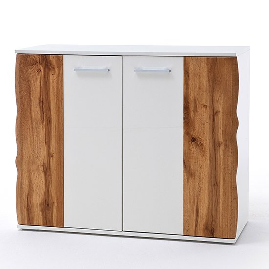 Granada Wooden Shoe Cabinet In White High Gloss And Oak