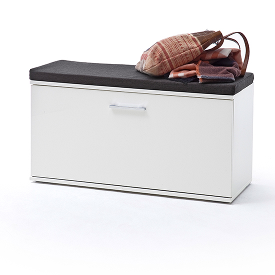 Granada Wooden Shoe Storage Bench In White High Gloss_2