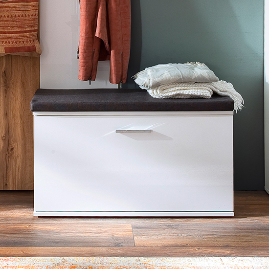 Granada Wooden Shoe Storage Bench In White High Gloss_1