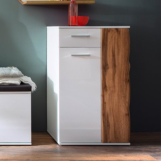 Granada Wooden Storage Cabinet In White High Gloss And Walnut