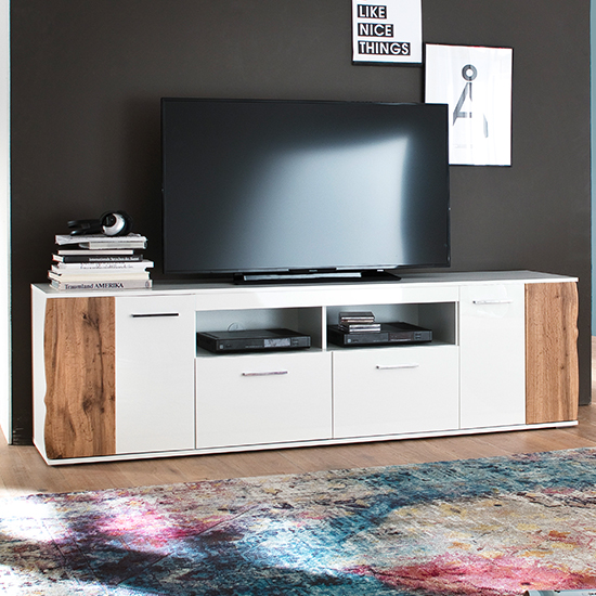 Granada Wooden TV Stand In White High Gloss And Walnut