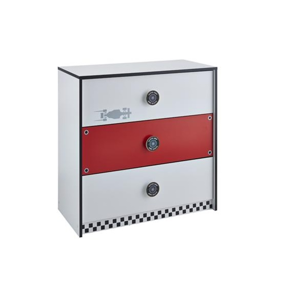 Grand Prix Childrens Chest of Drawers In Red And White