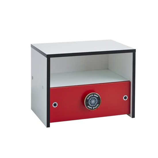 Photo of Grand prix childrens bedside cabinet in white and red
