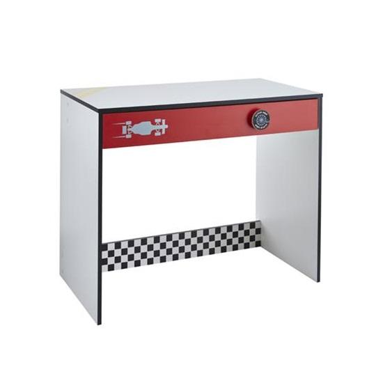 Grand Prix Childrens Computer Desk In White And Red 28538