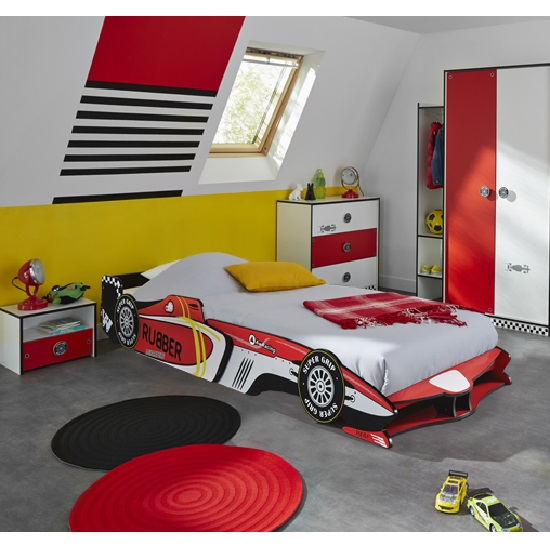 Grand Prix Boys Childrens Car Bed In Red