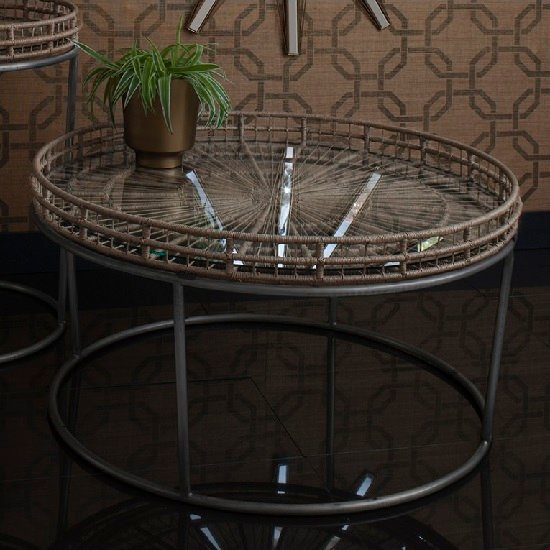 Sennett Glass Coffee Table Round In Natural With Metal Frame
