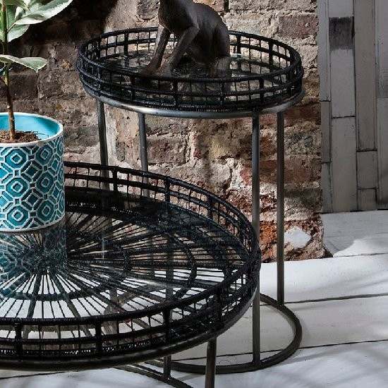 Sennett Glass Side Table Round In Black With Metal Frame